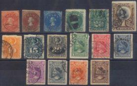 1853 CHILEklassische Marken ab 1853 (COLON), gesamt 16 Stück inunterschiedlicher Erhaltung