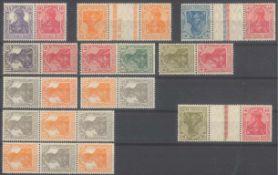 DEUTSCHES REICH - GERMANIA - Zusammendrucke 1919-192111 verschiedene, ungefaltene Zusammendrucke