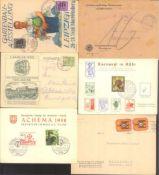 """BELEGEPOSTEN NACHKRIEGSDEUTSCHLANDaus 1948-1961, gesamt 12 Belege, dabei schöne Schmuckkarte"""""""