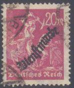 1923 DEUTSCHES REICH - INFLA Dienstmarke, Wz. Y, 20 PfennigBergmann, Schlangenaufdruck, mit