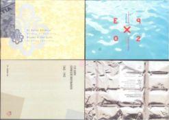 SCHWEIZ 1993 / 2002, Stickereimarke, Schokokleinbogen4 verschiedene Geschenk/Souvenierhefte mit