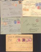 DEUTSCHES KAISERREICH, GERMANIA ab REICHSPOST 1900-190712 Bedarfsbelege, dabei WERTBRIEF mit 80