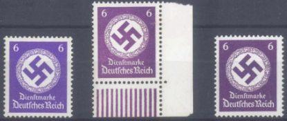 """1942/1944 III. REICH - Dienstmarke, 6 PfennigHakenkreuz in allen 3 möglichen Farben, die """"a"""" und """"b"""""""