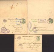 BAYERN 1891-19073 gelaufene Ganzsachen, dabei 5 Pfennig auf RautenuntergrundFrage/Antwort. Einmal
