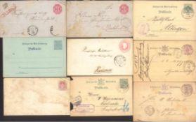 WÜRTTEMBERG 1865-19006 gelaufene Ganzsachen, 1 ungebrauchte und eine gelaufeneGanzsache BADEN und
