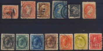 1859 CANADAklassische Marken ab 1859, gesamt 13 Stück inunterschiedlicher Erhaltung, dabei eine