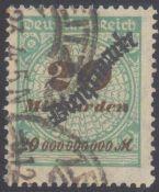 1923 DEUTSCHES REICH - INFLA Dienstmarke, 20 MilliardenMark, Ziffer in Rosette, Schlangenaufdruck,