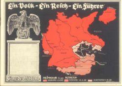 1938 PROPAGANDAKARTE EINVOLK - EIN REICH - EIN FÜHRERfarbige Karte, blankogestempelt mit Thematik