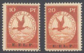 """DEUTSCHES REICH 1912 Flugpost """"E.EL.P.""""Michelnummern V und VI, je ungebraucht Pracht mit 1030,-Euro"""