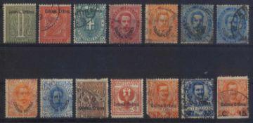1893 ITALIENISCH-ERITREAklassische Marken ab 1893, gesamt 14 Stück inunterschiedlicher Erhaltung.