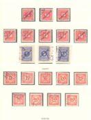 ÖSTERREICH 1919-1924, Portomarkengestempelte Sammlung in LINDNER T-Falzlosvordrucken,komplett