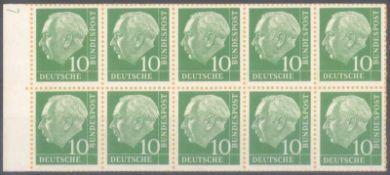 1960 HEUSS H-Blatt 10 f b aus Markenheftchen der NACHAUFLAGEMichelnummer H-Blatt 10 f b mit dem