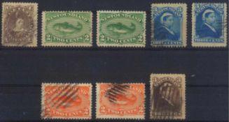 1880 NEUFUNDLANDklassische Marken ab 1880, gesamt 8 Stück inunterschiedlicher Erhaltung.
