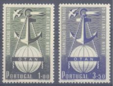 PORTUGAL 1952 NATO (OTAN)Michelnummern 778-779 postfrisch mit Oiginalgummi ohne Falz/ Falzspur, aber