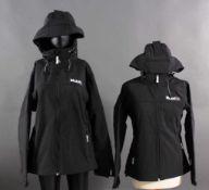 Herren und Damen Softshell Jacke Mobil 1Schwarz mit Kapuze und gestickten Logo. Atmungsaktiv,