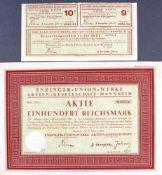 Enzinger-Union-Werke AG Anleihe von 1925, Gründeraktieeinschließlich 2 Coupons und
