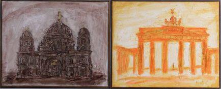 2 Reliefbilder Berliner KünstlerBeide Bilder gerahmt.1x Brandenburger Tor in gelb und rot, rechts