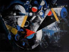Helmut Günter Weis, Rote Karte für blauen DunstÖl / Lwd, unten links signiert, gerahmt, ca. 79 cm