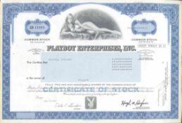 Playboy Aktie 1984ca. 30 x 20,5 cm, leichte vertikale Knickfalte, Schätzpreis180.- Euro