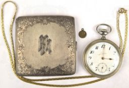 """KONVOLUT: Taschenuhr, Marke """"Junghans"""", weißes Ziffernblatt, arab. Ziffern, Extra-Sekunde, Nickel-"""