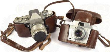 "2 FOTOAPPARATE: ""Praktica IV"" u. ""Agfa Silette 6005"", Primotar- bzw. Apotar-Objektive, 60er Jahre,"