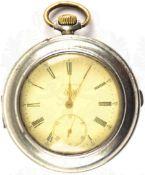 """HERREN-TASCHENUHR, Marke """"Longines"""", um 1900, Punze """"800"""", Kronenaufzug, Tragering u. Zeiger"""