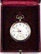 """HERREN-TASCHENUHR, um 1900, punziert """"800"""", Remontoir/10 Rubis, Uhrwerk läuft an, arab. Porzellan-"""