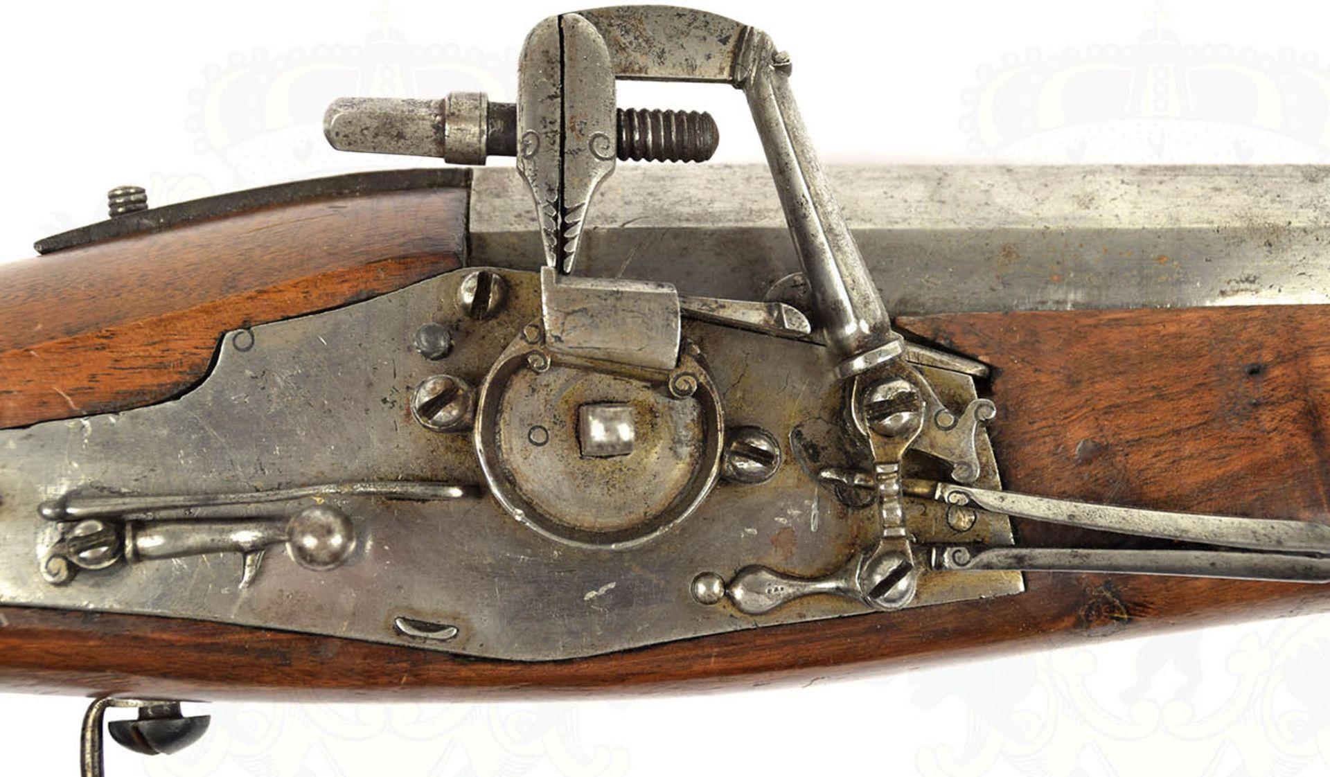 RADSCHLOß-WALLBÜCHSE, schöne, detailgetreue Nachfertigung eines Modells um 1700, eiserner, etwa - Bild 5 aus 9