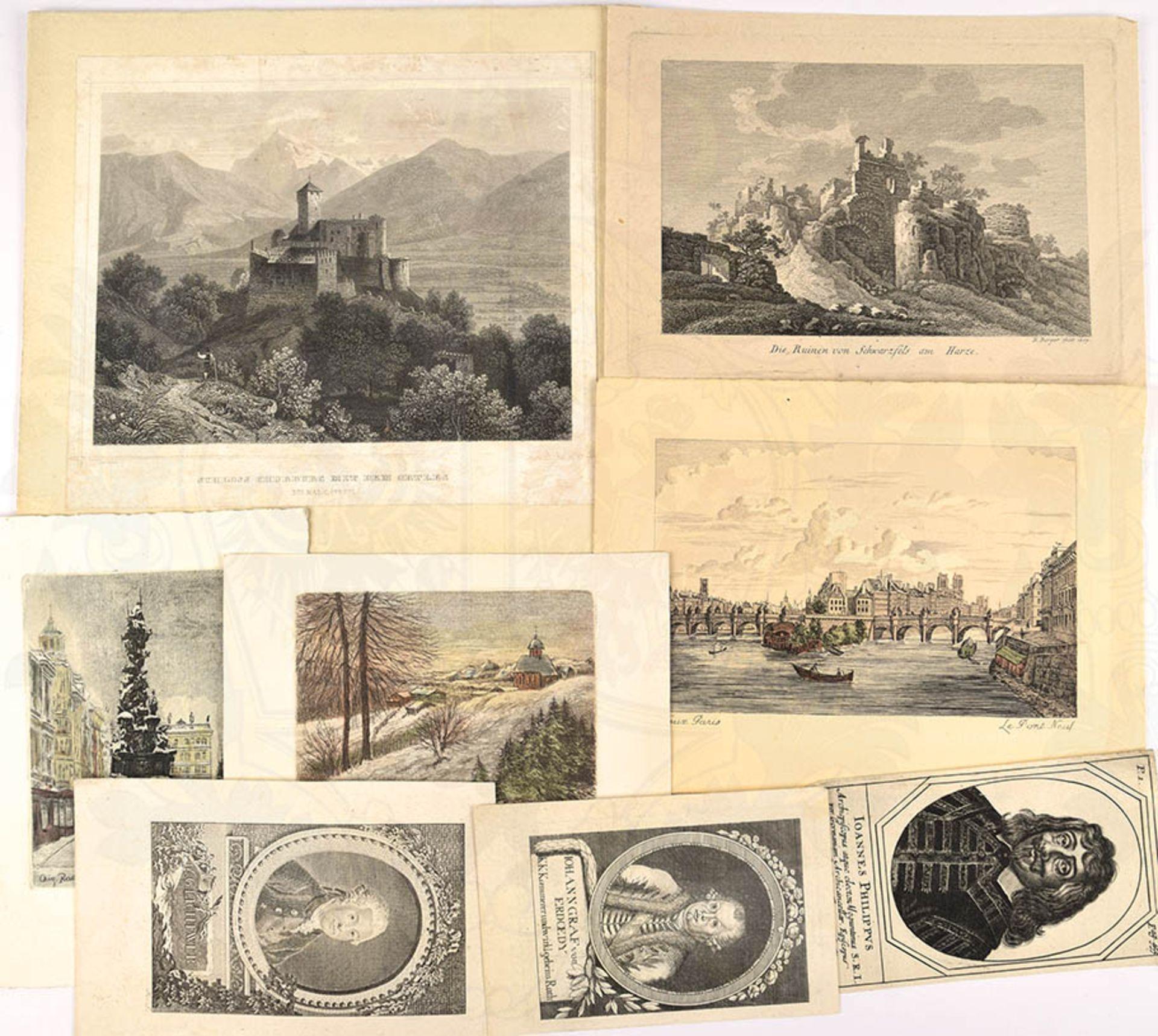 KONVOLUT, ca. 50 Radierungen, Bleistift-Zeichn. u. Stahlstiche, Portraits, Landschaften, Gebäude, - Bild 2 aus 2