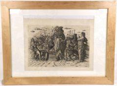 """KUPFERSTICH """"DIE GRABLEGUNG CHRISTI"""", um 1900, Plattenabdruck nach dem Original von Andrea"""