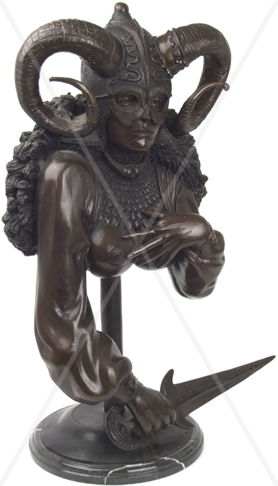 SKULPTUR, Büste einer Fantasy-Kriegerin, Weißmetall bronziert, hohl gearbeitet, junge Frau m. - Bild 3 aus 5