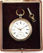 """HERREN-TASCHENUHR, um 1890, punziert """"800"""", 15 Rubis, Tragering, Schlüsselaufzug (orig. Schlüssel"""