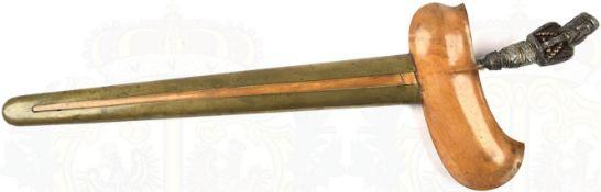 KRIS, Insel Bali, 1. H. 20. Jhd., geflammte Rasenerz-Klinge, L. 35 cm, beids. mit bronzenen arab.