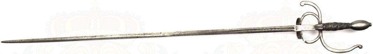 DEGEN/RAPIER, Historismus-Fertigung eines Italienischen Typs um 1600, zweischneidige Klinge m.