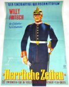 """2 PLAKATE: """"Herrliche Zeiten"""", (Willy Fritsch, 1950); """"... geh ins Kino"""" (um 1960), bde. farb., jew."""
