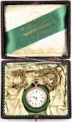 """FRACKUHR/DAMEN-TASCHENUHR, um 1900, Silber, punziert """"800"""", Fertigungsnr., Kronenaufzug, röm."""
