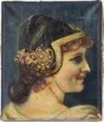 KOPFPORTRAIT EINER DAME, im Stil der Renaissance, Öl auf Leinwand, mit dkl.grüner Samthaube, gld.