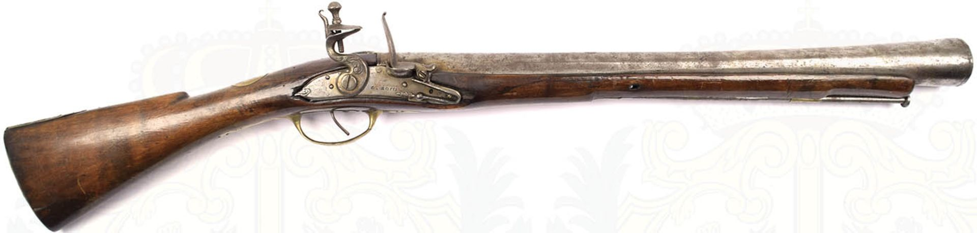 STEINSCHLOßTROMBLON, Italien, um 1800, glatter Lauf m. undeutlicher Punze u. kleinen Närbchen,