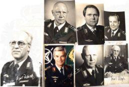 7 PORTRAITFOTOS GENERALE DER BUNDESLUFTWAFFE, 1970er-1980er Jahre, jew. m. OU: E. Eimer, M. Philipp,