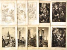 KONVOLUT: 18 Stahlstiche, allegorische Darst., hist. Herrscher, Theaterszenen, um 1840; 10
