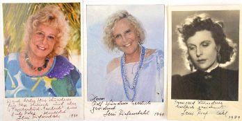 RIEFENSTAHL, LENI, (1902-2003), dt. Filmregisseurin, Schauspielerin u. Produzentin, 3 eigenhändige