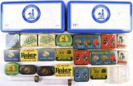 24 DOSEN FÜR GRAMMOPHON-NADELN, meist Eisenblech, farbig bedruckt, Firmen Rojar, Ondulette,