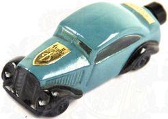 """PARFÜM-FLÄSCHCHEN, in Form eines Automobils um 1930, Glas, schwarz/dunkel türkis bemalt, Herst. """""""