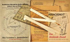3 GEOMETRIE-ARBEITSMITTEL: Universal-Lineal; Winkelfunktionsmesser; Trigonometer, in Hüllen, mit