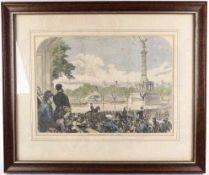 """DRUCK, """"WEIHE DER SIEGESSÄULE"""", tls. coloriert, aus engl. Zeitung v. 1873, engl. bez., """" Unveiling"""