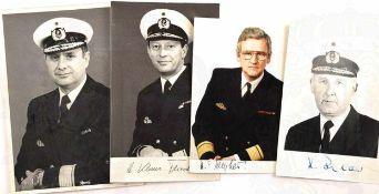 4 PORTRAITFOTOS ADMIRALE DER BUNDESMARINE, 1970er-1980er Jahre, jew. m. OU: K. Rehder, K.-M.