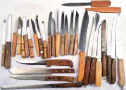 KONVOLUT MESSER, 30 Stück, dabei Küchen-, Brot- , Käse- u. Obst-Messer, Klingen-L. 7-23 cm, Herst.