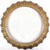 BILDERRAHMEN, rund, halbhohler Buntmetallguss, vergld., reliefiert ausgearbeitete florale Ornamente,