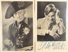 2 ORIGINAL-UNTERSCHRIFTEN, Otto Gebühr (1877-1954) u. Hans Richter (1919-2008), dt. Schauspieler,