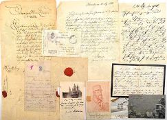 SAMMLUNG AUTOGRAPHEN, ges. 30 Teile, Briefe, Dankesschreiben, Grußkarten, Anfragen, Einladungen,